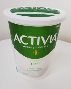 Activia Plain Yogurt with Active Probiotic Cultures.